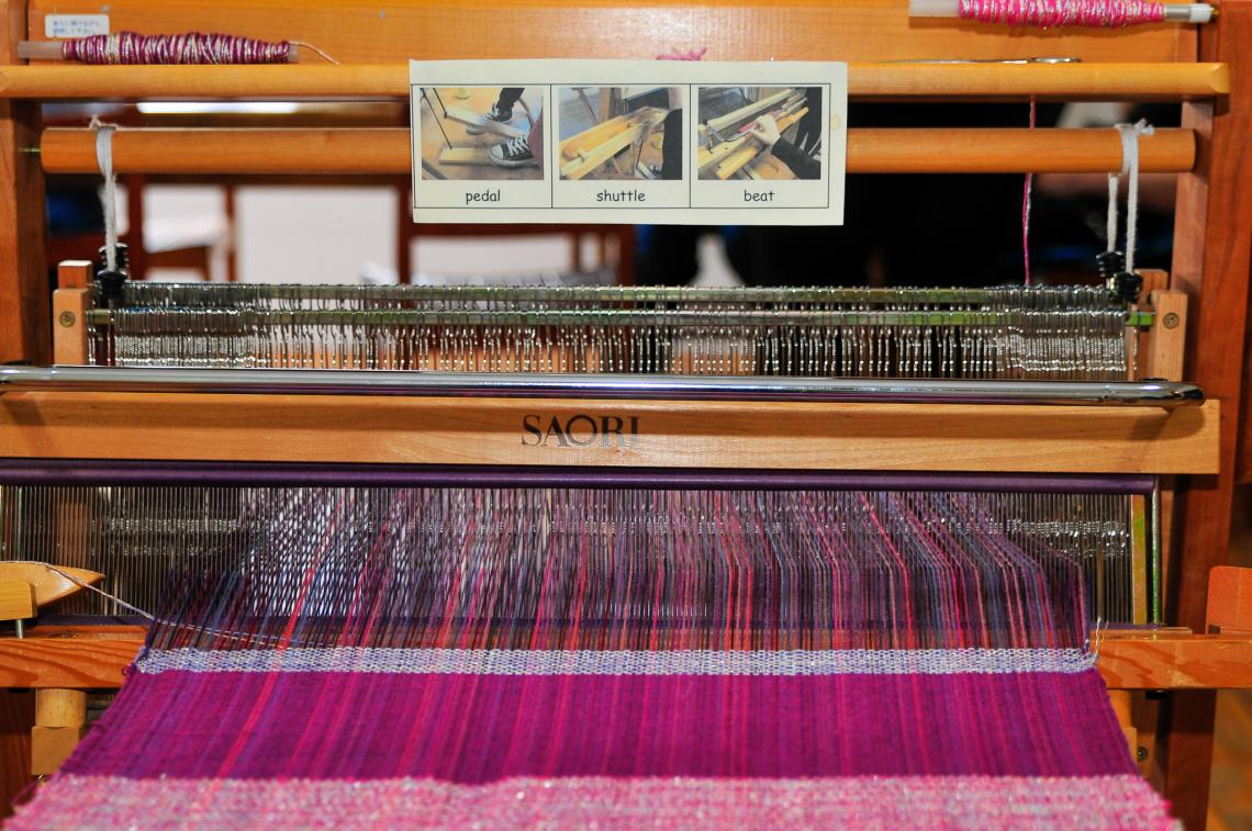 Loom with communication board on.