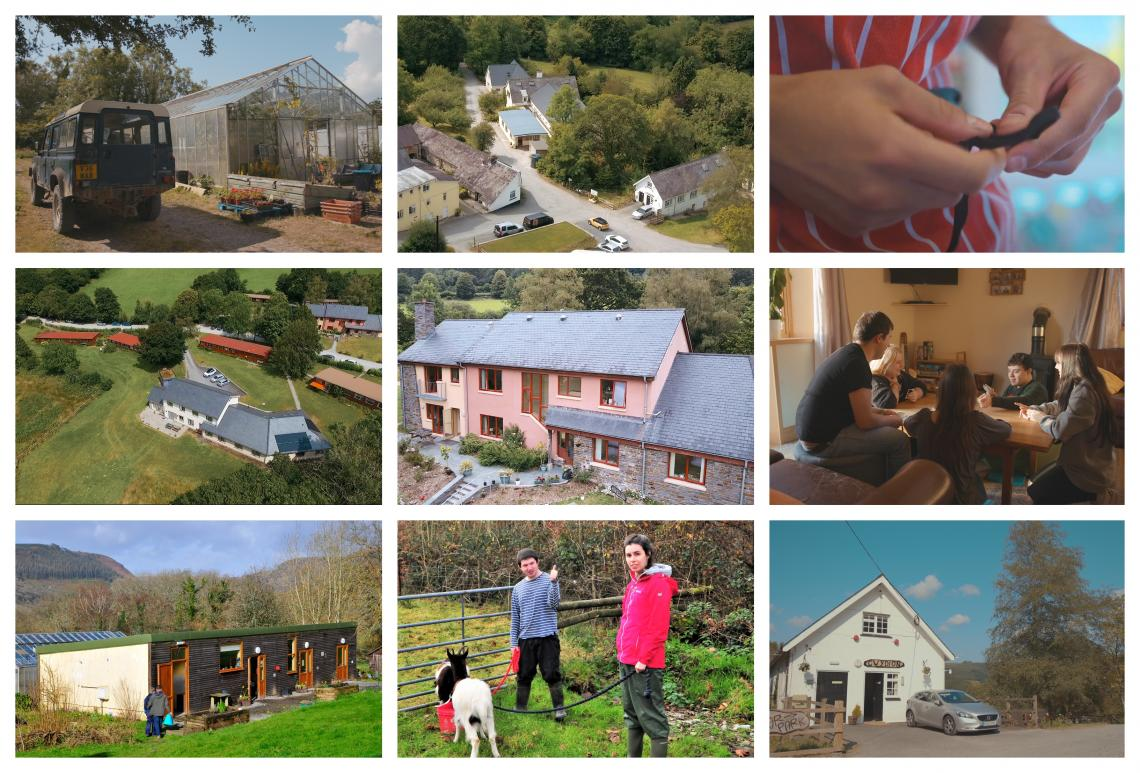 A montage of Elidyr Communities Trust accommodation and grounds.