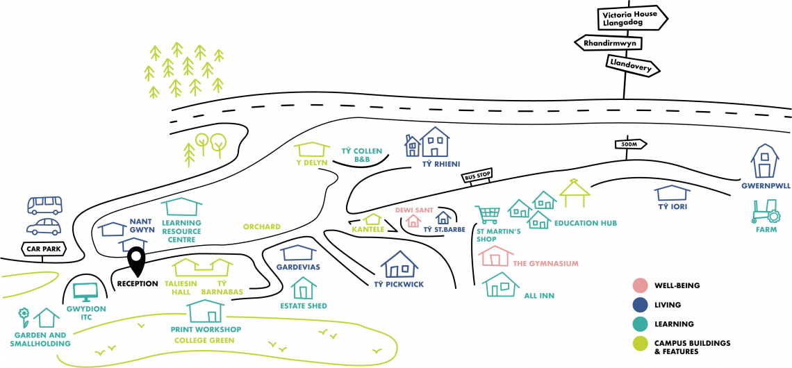 Picture map of the Elidyr Communities Trust site.