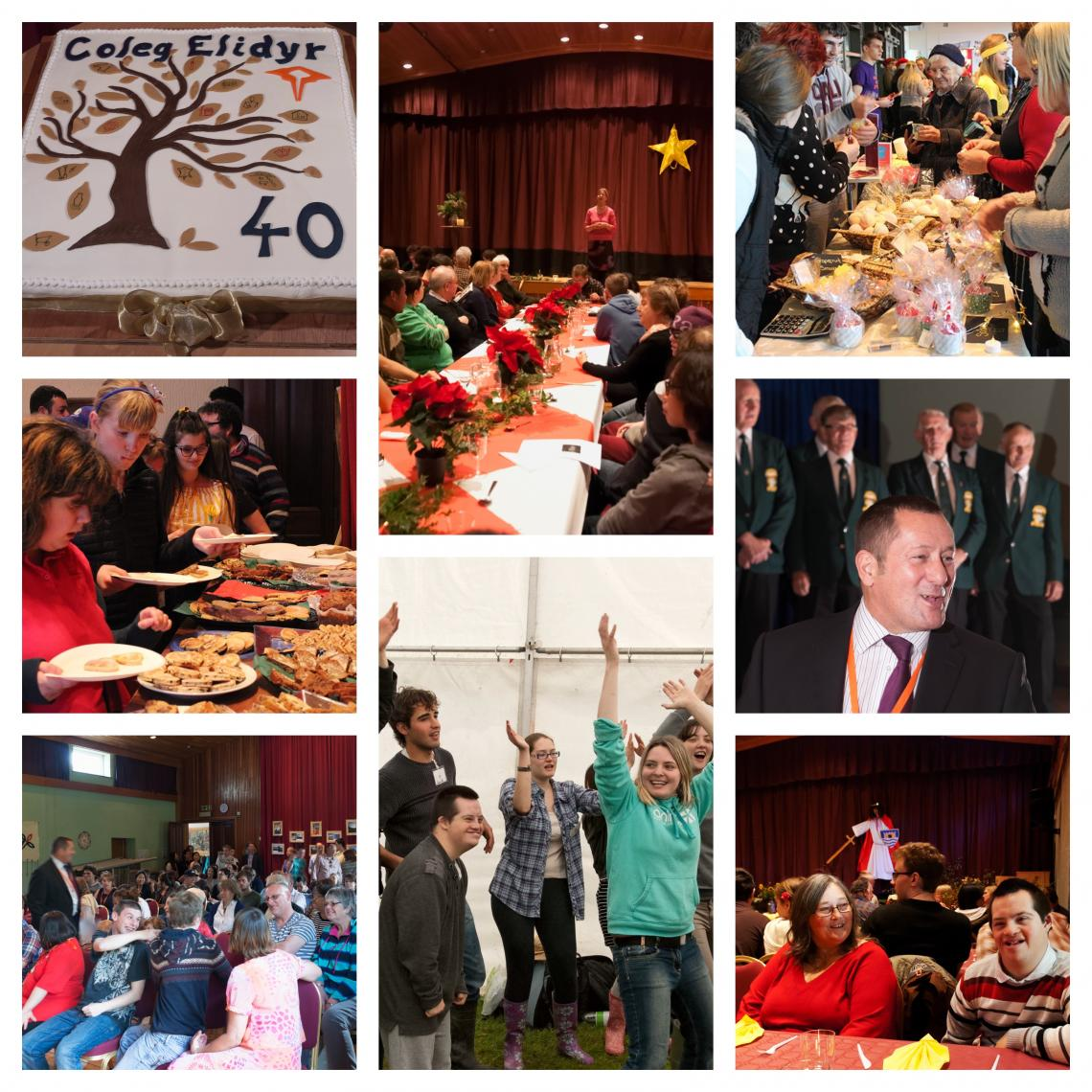 Collage of family events at Elidyr Communities Trust.