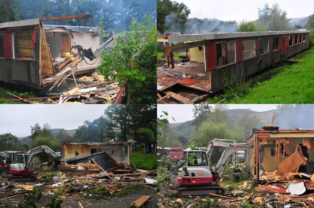 Collage of buildings being demolished