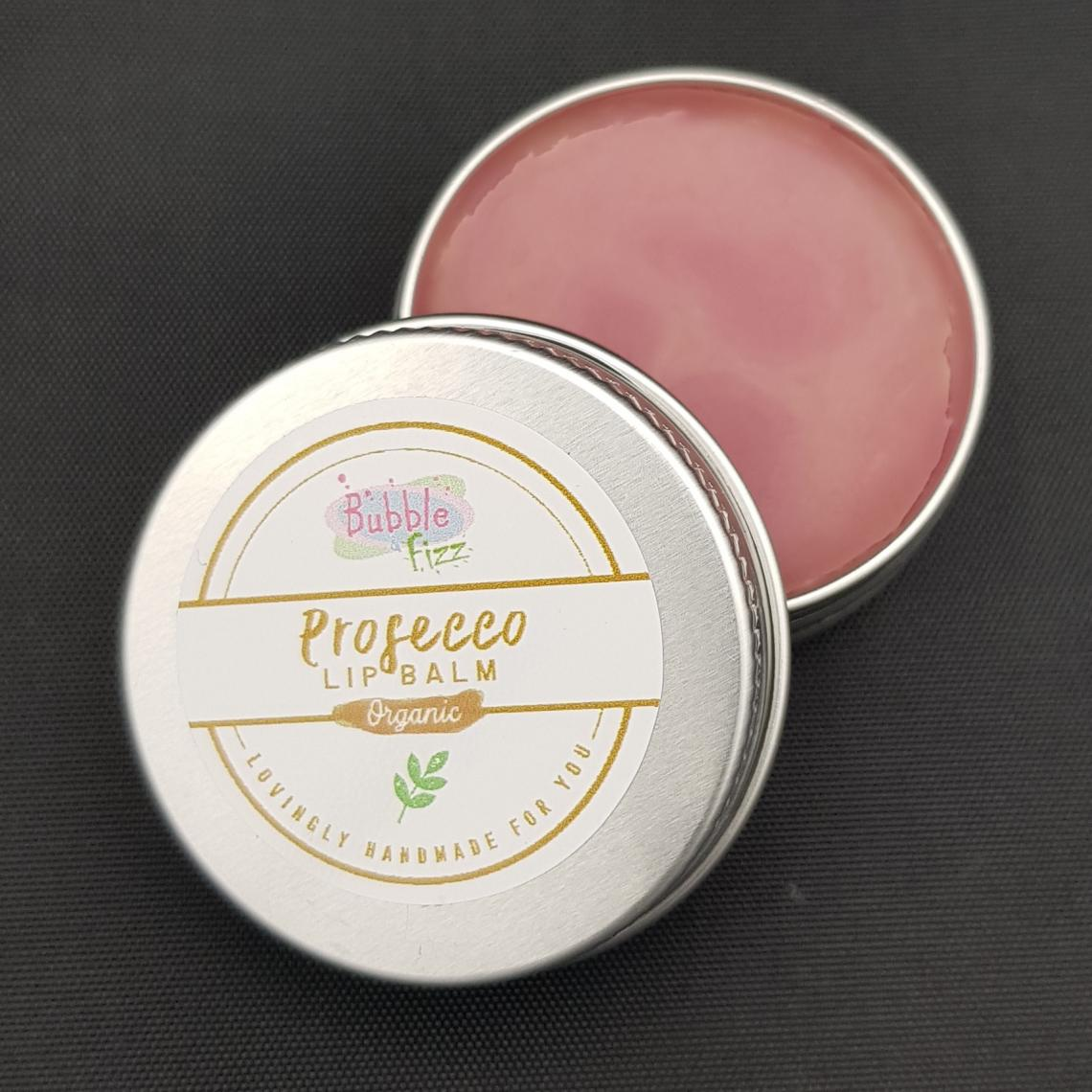 Close up of Prosecco pink lip balm.