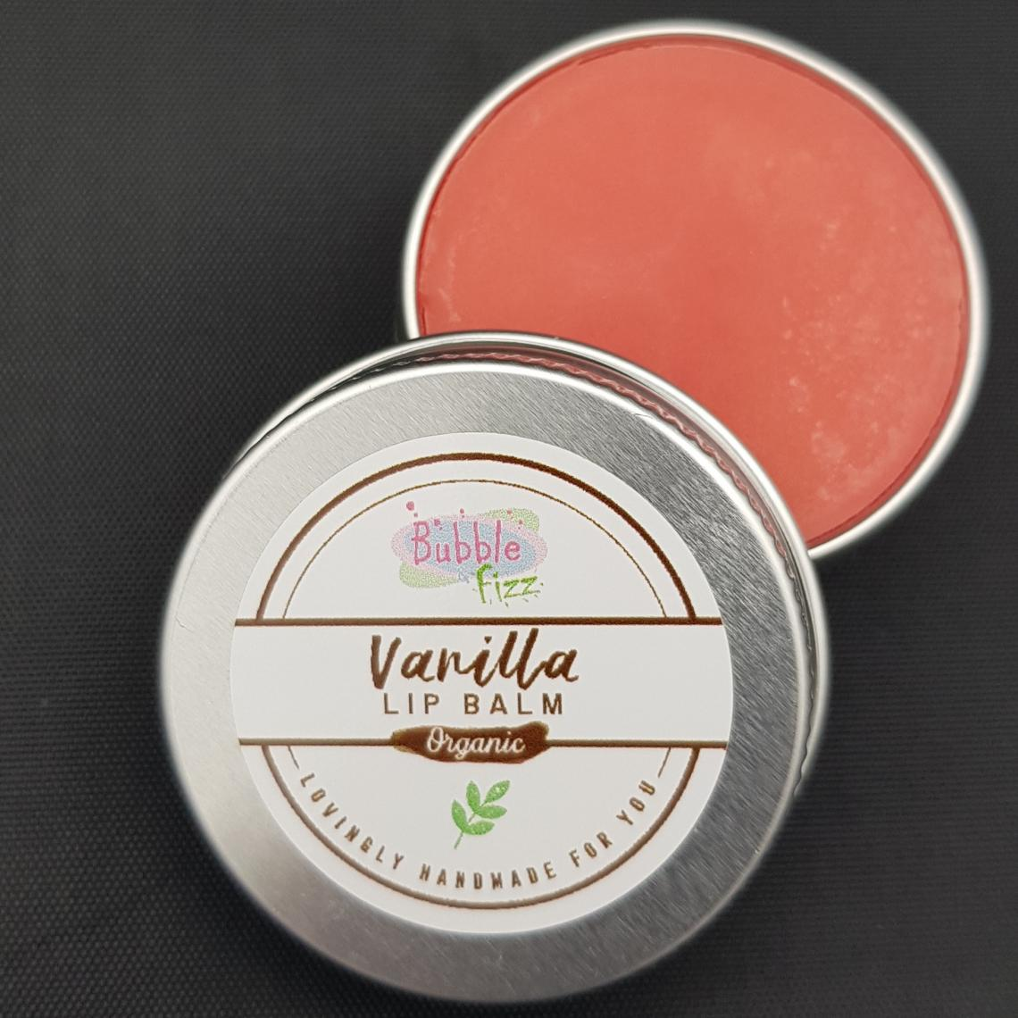 Close up of organic vanilla lip balm.
