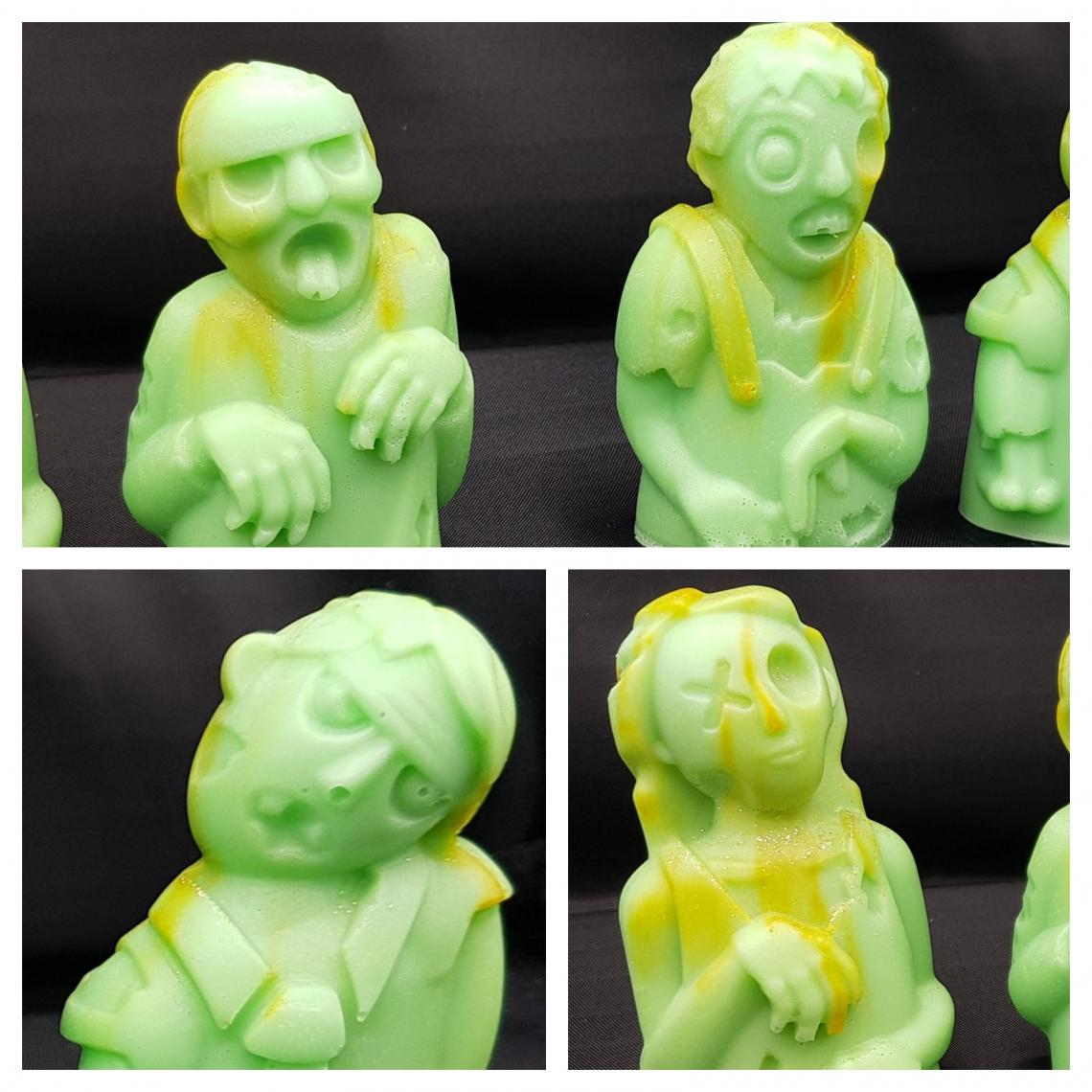 4 zombie soaps in green.