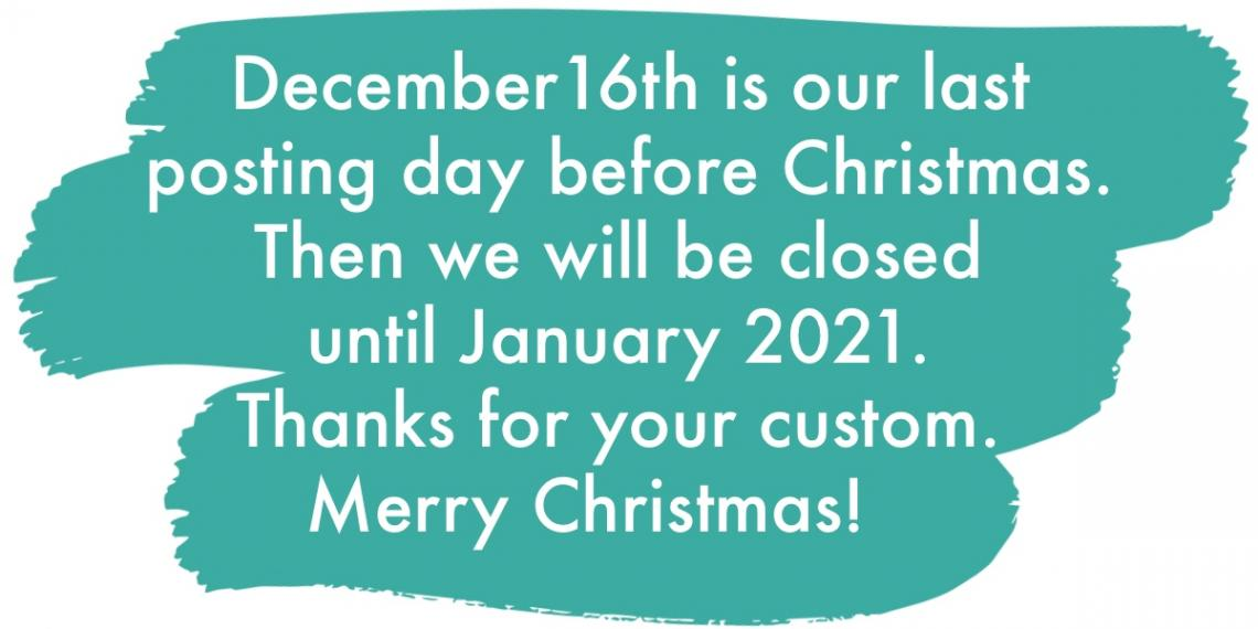 Sign saying December 16th is the last posting day before Christmas.