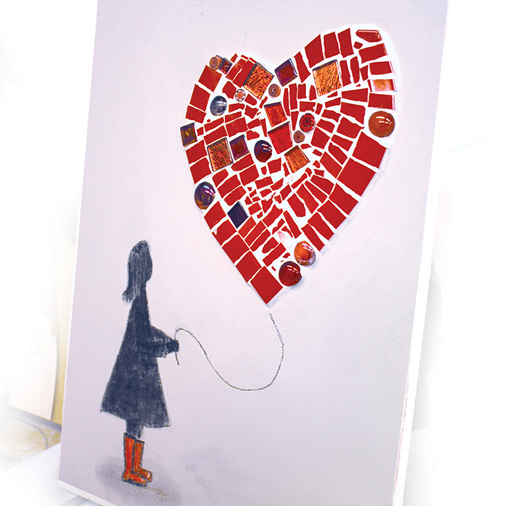 A mosaic showing a girl with a heart balloon, wearing red boots.