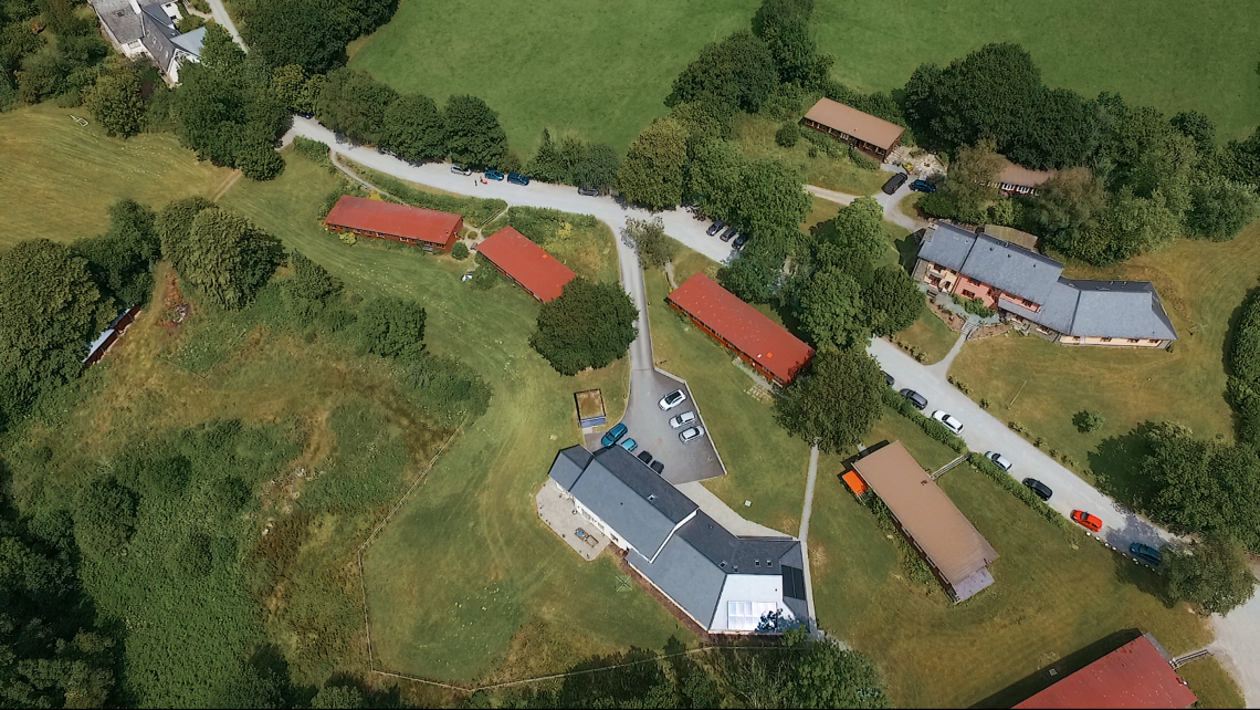 Campus building at Elidyr Communities Trust from the air.